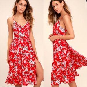 Lulu's Esperanza Red Floral Print Midi Dress NWT S